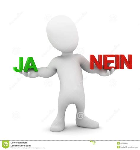 Lebenslauf Bild Ja Oder Nein 3d decides ja or nein stock illustration