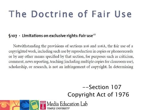 copyright act 1976 section 107 copyright and fair use slides macul