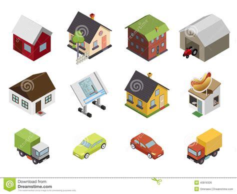 isometric retro flat cars house real estate icons stock