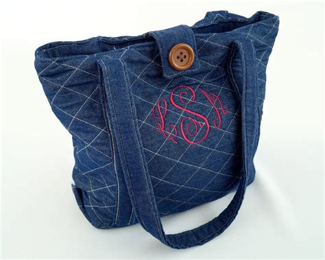 Handmade Denim - monogram purse tote blue monogram pocketbook handmade