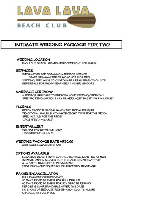Wedding Packages by Weddings Lava Lava Club Big Island
