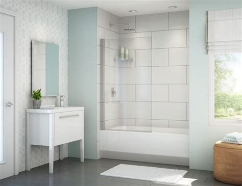 fleurco banyo tub shield 34 quot x 58 quot frameless in line