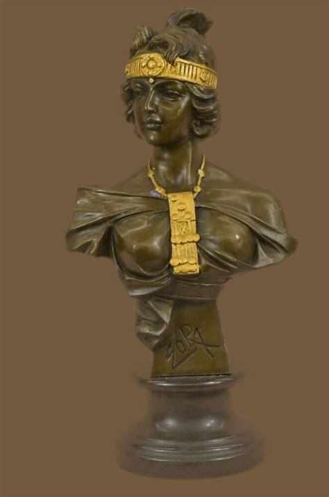 byzance  villanis gold patina bronze noveau cleopatra bust sculpture statue ebay