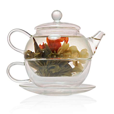 glass teapot glass cup flowering tea for one gift set with glass teapot by the