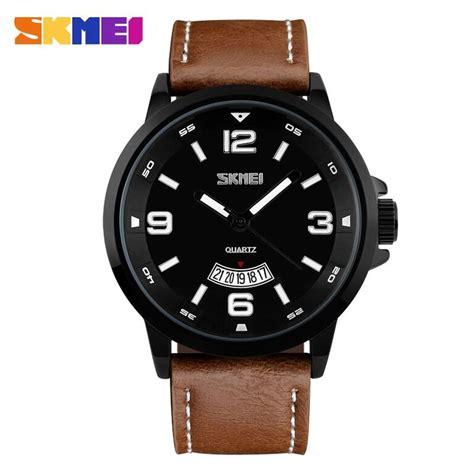 Jam Tangan Pria Cowok Montblanc Leather Brown skmei jam tangan analog pria 9115cl black brown jakartanotebook