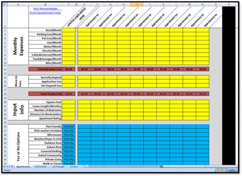excel spreadsheet template excel spreadsheets help new apartment search rating