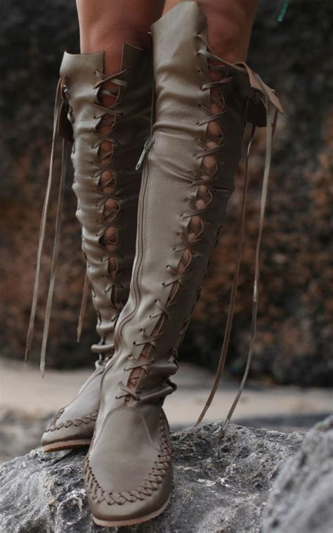 bronze metallic knee high leather boots high boots