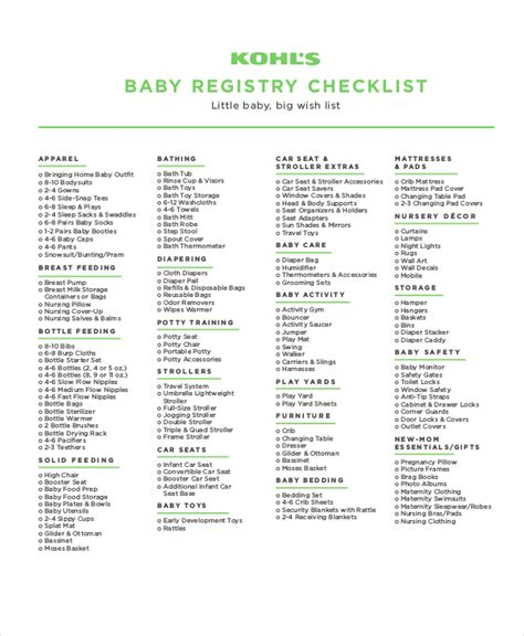 printable baby shopping list baby registry checklist 8 free word pdf psd documents