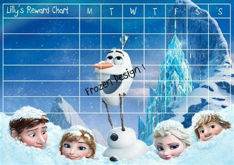 printable frozen sticker chart childrens reward chart chore chart for kids personalised