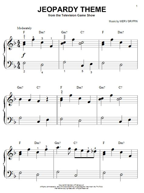 Jeopardy Theme Sheet Music Direct Jeopardy Theme Song Free