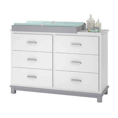 Changing Table Drawer Ameriwood Home Leni 6 Drawer Dresser Changing Table In White And Gray Ebay