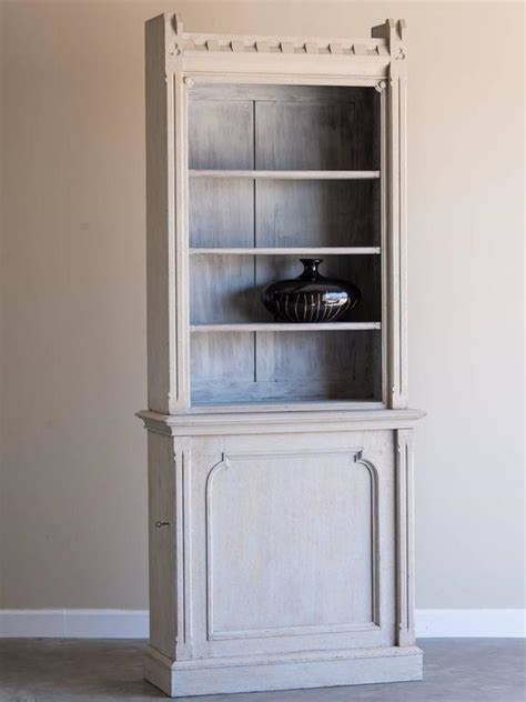 Shallow Display Cabinet by Shallow Antique Painted Oak Display Cabinet