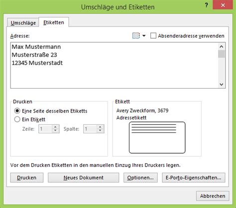 Adressaufkleber Word by Etiketten Im Seriendruck Netschulungnetschulung