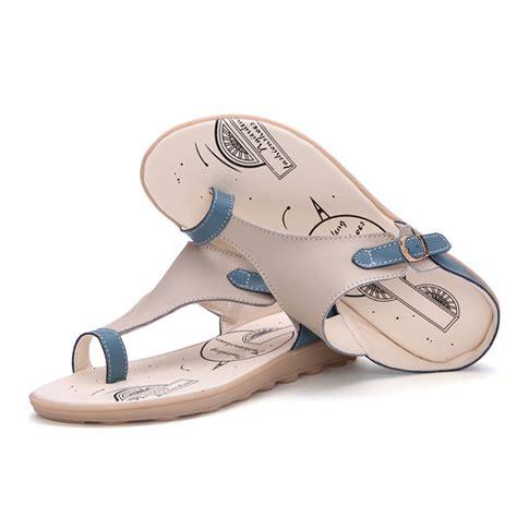 Sandal Flat Serut 3 Warna genuine flip flops sandals leather flats shoes brand summer slippers 2016