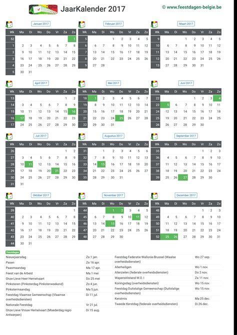 Datum Kalender 2017 Kalender 2017 Jaarkalender Belgie Verlengde Weekends