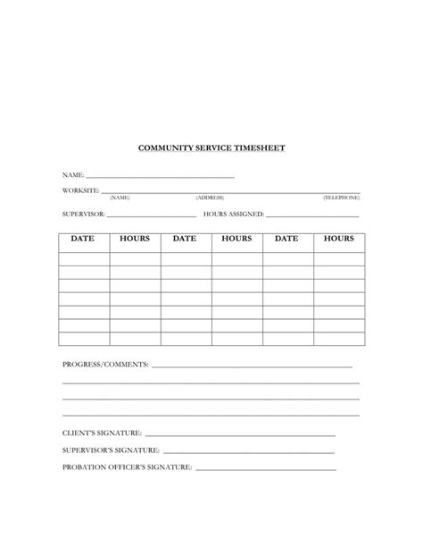 community service timesheet template in word and pdf formats