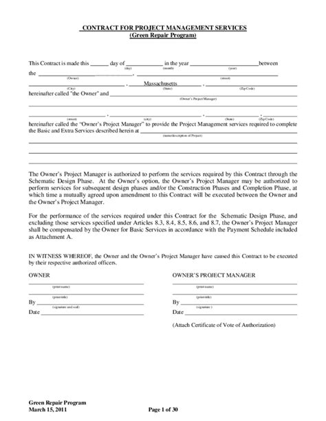 project manager contract template contract for project management services massachusetts