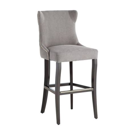 Linen Nailhead Bar Stools by Noho Grey Linen Nailhead Trim Counter Stool Overstock