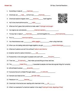 Bill Nye Chemical Reactions Worksheet Answers chamical reactions worksheet kindergarten science