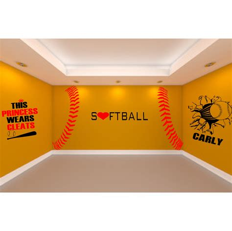 softball bedroom ultimate softball room 5 large softball wall decals to create