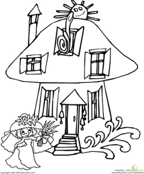 coloring page fairy house color the mushroom house worksheet education com