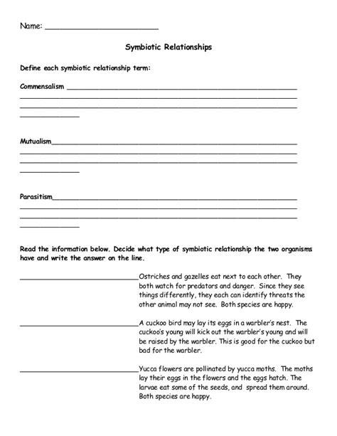Symbiosis Worksheet by Collection Of Symbiotic Relationships Worksheet Cockpito