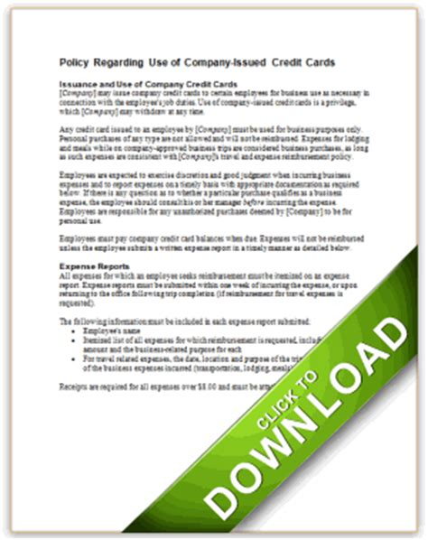Corporate Credit Card Policy Template Infocard Co Travel And Entertainment Policy Template