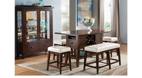 Julian Place Chocolate Brown Vanilla Off White 5 Pc Julian Dining Room Furniture