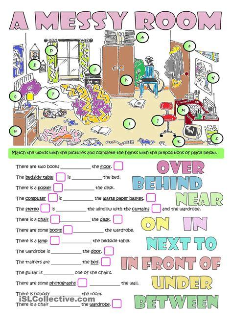 a messy room furniture amp prepositions esl worksheets