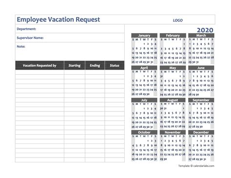 business employee vacation request  printable templates