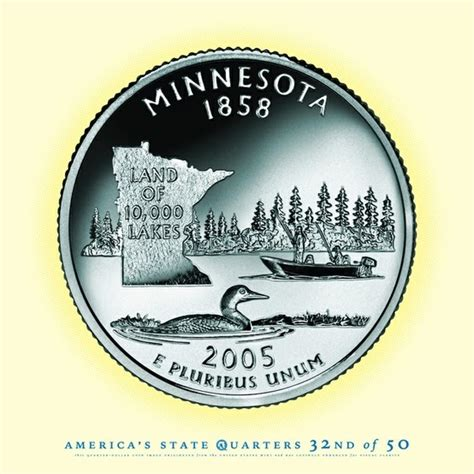 Minnesota The 32nd State by Minnesota Portrait Coin 32