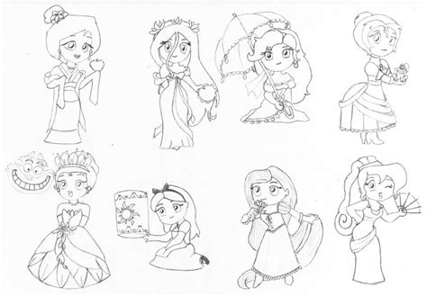 chibi princess coloring pages chibi disney princesses by ferrandi on deviantart