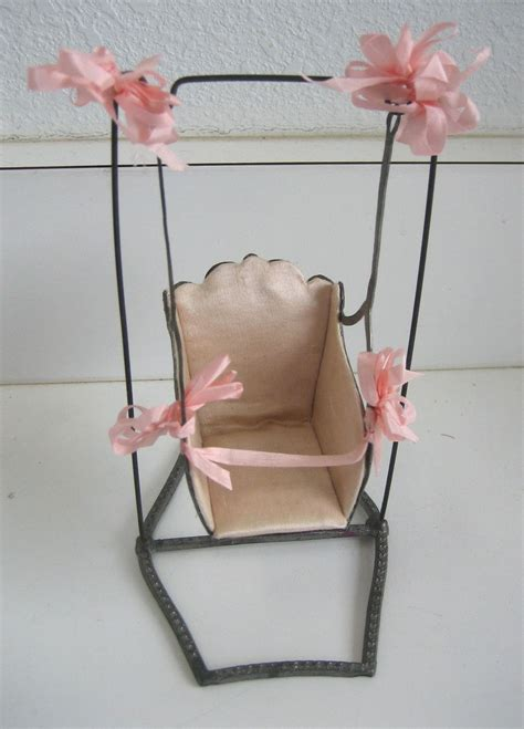 baby doll swing antique french miniature metal baby doll swing with pink