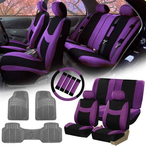Fh Purple fh purple black car seat covers for auto w steering cover belt pads floor mat automotive