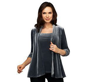 Http Www Qvc Com Sweepstakes - susan graver stretch velvet ruched 3 4 sleeve cardigan tank set peacocks cas and gray