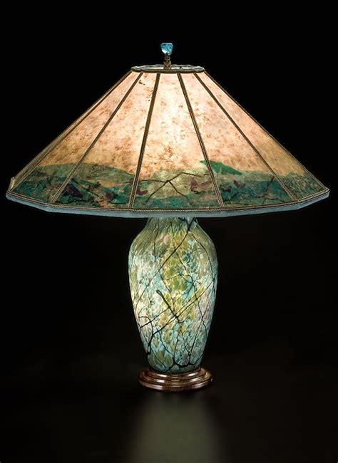 Blue Glass Table Lamps Lindsay Art Glass Table Lamp Amp Butterfly Mica Lamp Shade
