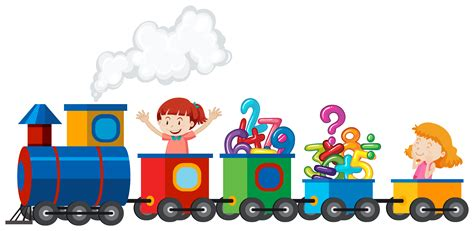 girls riding  train  math number