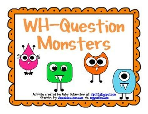 wh questions printable flash cards 54 best images about monster unit theme slp on pinterest