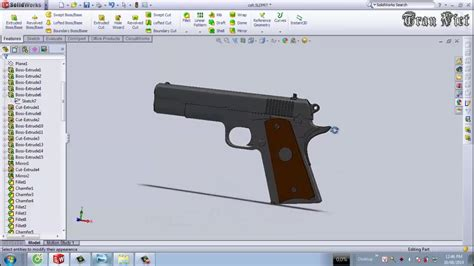 solidworks tutorial gun solidworks tutorial colt m1911 pistol youtube