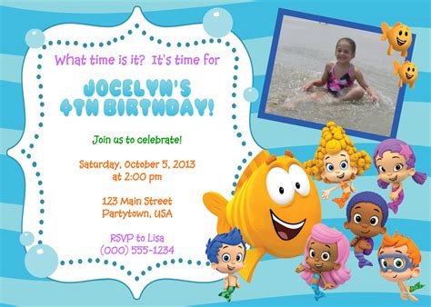 personalized bubble guppies invitations