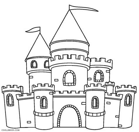 pin castle easy free printable coloring pages