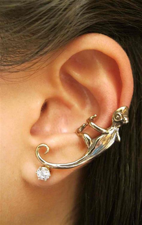 ear cuff ear wrap lizard earring gecko ear cuff bronze lizard