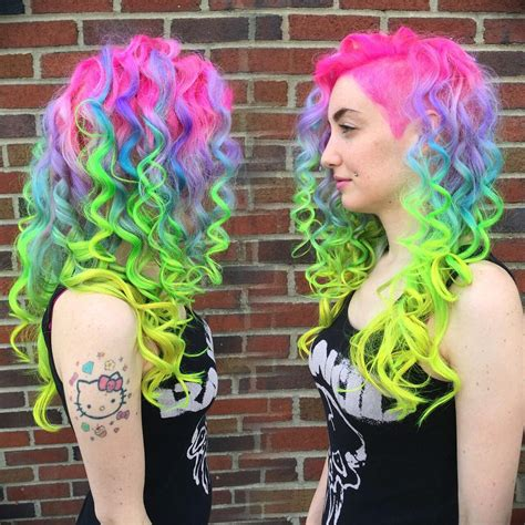 bright hair color for curly hair rainbow neon curls in buffalo hair colors ideas