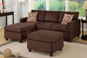 Chocolate Brown Sectional Sofas All In One Microfiber Plush Sectional Sofa With Ottoman Chocolate Brown Huntington