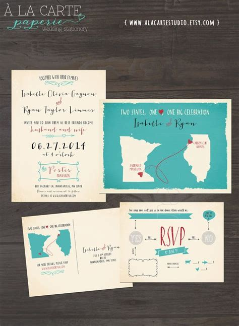 wedding invitation usa destination wedding invitation usa two states one one