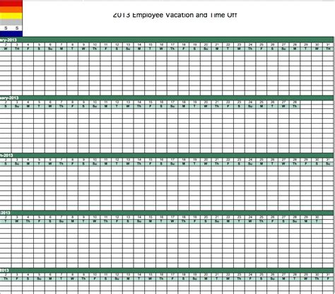 vacation tracker template excel vacation calendar template calendar monthly printable