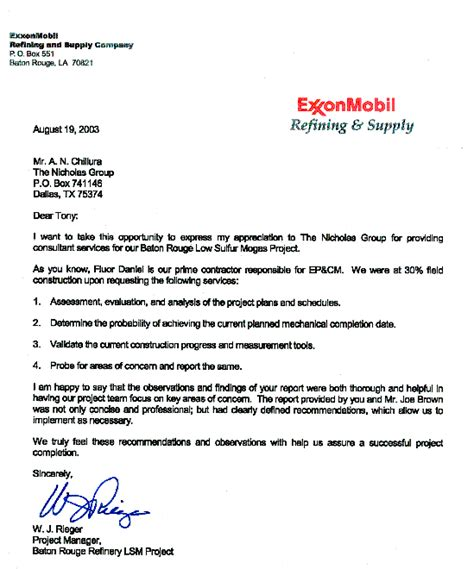 appreciation letter from client to contractor consulting firm wylie tx