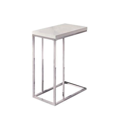 glossy white chrome metal accent table monarch specialties accent table glossy white with