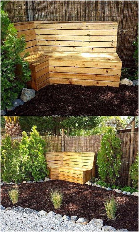 wooden corner bench garden 60 pallet ideas for garden and outdoors diy motive
