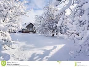 Farmhouse Building Plans winter fairytale heavy snowfall stock image image 37796341